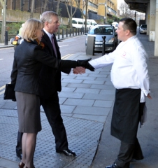 HRH The Duke of York is greeted by Master Chocolatier Marc Demarquette